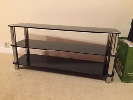 Tempered glass black solid tv stand