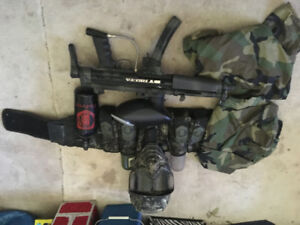 BT Delta Mil SIM Paintball Marker with Petrol Tank,  and gear.