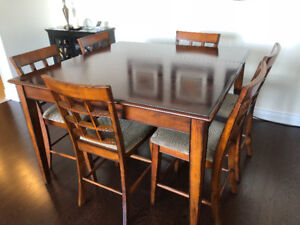 7 Piece solid wood pub-style dining room set.