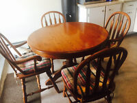 Solid Oak Table and 4 Chairs (with insert) ($275 OBO)