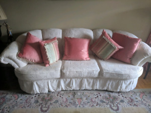 Velvet sofa and single