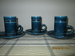 Blue Coffee Mugs with Saucers