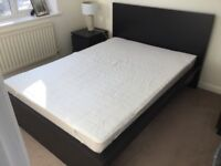 Black small double bed with new mattress