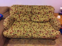 Comfortable Flower Couch / LoveSeat and Ottoman