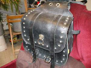 heavy leather adjustable saddle bags