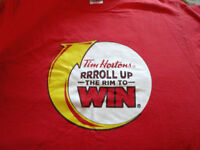 Roll up the Rim to Win T-SHIRT Timmies Tim Hortons COFFEE Red