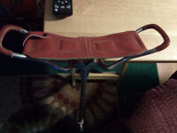 Vintage cane-seat LEATHER seat+ WITH ALUMINUM FRAME 25.00