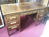 Sale Now On!! Solid Oak Desk With 7 Drawers - Can Deliver For £19