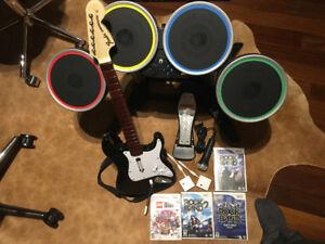 Wii Rockband and Games  LIKE NEW