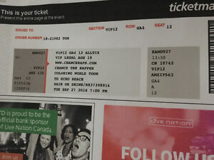 Two Chance The Rapper VIP tickets