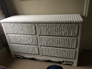 $50 - White wicker dresser with 6 easy glide drawers