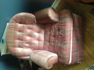 Plaid pink rocking chair