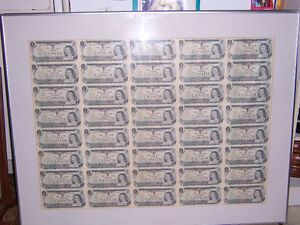 FOR SALE PAPER MONEY AND COINS,2FULL SHEETS UNCUT,