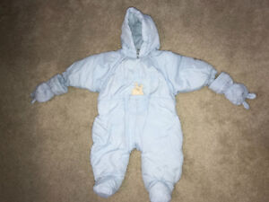 Absorba Baby Blue Snowsuit 6-9 months with Gap wool hat