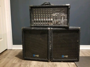 Yorkville PA powered mixer and speakers (MP8DX and Y112s)