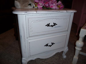 Lovely Linen White French Provincial Night Table
