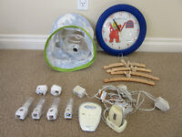 Baby Monitor, night lamps, lamp, clock and hangers.