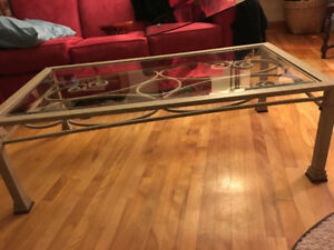 "Glass and iron 4 piece set: coffee table (80in x 28"")"