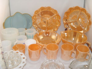 Vintage Fire King 21 Dishes Peach Luster Batter Bowl Mugs More