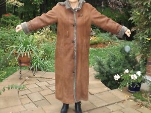 Long Leather Shearling Ladies Coat, removable hood