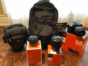 Sony Alpha SLT-A33 Camera Body, 3 lenses, Bags and Accessories