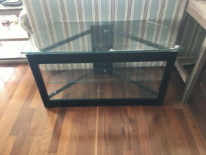 Television stand - black metal and glass