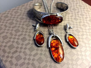 Sterling Silver and Amber Bracelet, Necklace, and Earring Set
