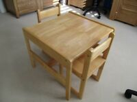 Small Solid wood chairs and table