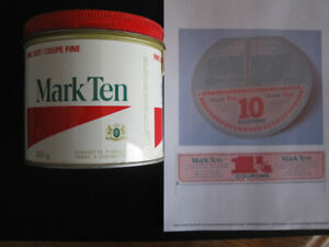 Tobacco Can Tin  Mark Ten Coupons, Cigarette Pack Coupons