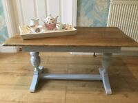 Beautiful heavy solid oak vintage coffee table