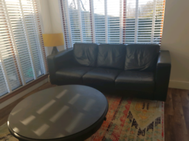 3 Seater Black Leather Sofa FREE