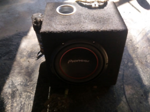 """Pioneer 10"""" sub, amp, capacitor"""