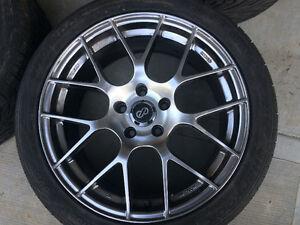 Subaru STI,18 inch Raijin rims with 245/40r18 hankook tires. Strathcona County Edmonton Area image 1