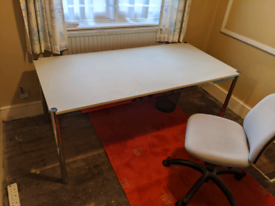 Desk and office chairs