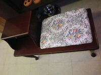 FAPO: Unusual solid wood chair / end table combination