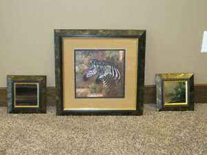 Beautiful Zebra picture with matching mirrors for sale