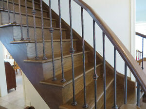Wrought iron stair balusters, baluster shoe, metal ...