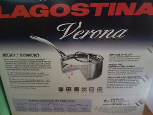 Lagostina Verona 11-pc Stainless Steel Cookware Set, Never Used