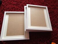 3 White picture frames 12x15