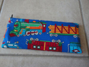 Blue fabric train print pencil case pouch holder NEW