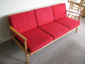 Mid-Century Modern Coach - Beech Wood - Refinished - $500