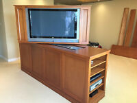 High quality and top of the range TV stand in hard wood