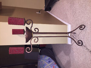 Solid iron candle holder