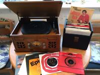 iTek record player, CD, cassette, radio system plus records