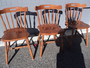 """CHAIRS!! (3)""""HONEY"""" COLOURED  ~ (2) ALL WOOD """"LIGHT COLOURED"""" Windsor Region Ontario image 2"""