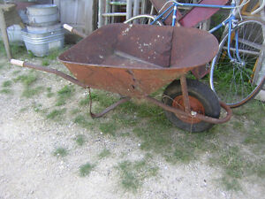 OLD RUSTED SHABBY CHIC LARGE METAL WHEELBARROW $40 GARDEN DECOR