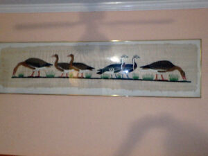 """AUTHENTIC EGYPTIAN PAINTING OF GEESE ON PAPYRUS,76"""" X 20"""""""