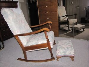 Early 1950's Antique Nursing rocker chair / matching foot stool
