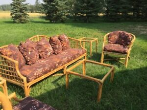 Rattan Couch, chairs, tables