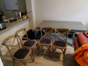 Silver Dining Table + 4 Chairs (Excellent Condition)